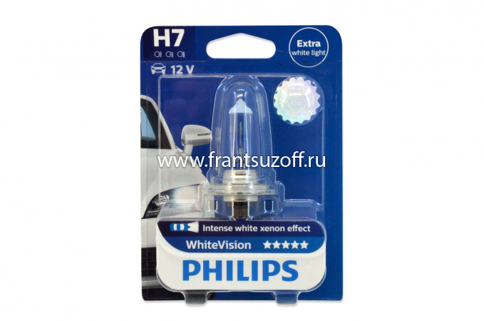 PHILIPS H7 WHITE VISION 12v 55w лампа галогеновая 1шт